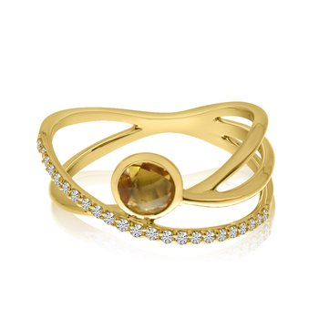 14k Yellow Gold Criss Cross Citrine and Diamond Ring