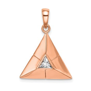 Sterling Silver Rose Gold-plated Triangular Origami CZ Pendant