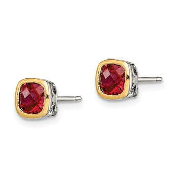 Sterling Silver w/ 14K Accent Created Ruby Square Stud Earrings