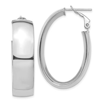 14k White Gold High Polished 10mm Omega Back Oval Hoop Earrings