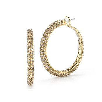 18Kt Gold Hoop Earrings With Brown Diamonds
