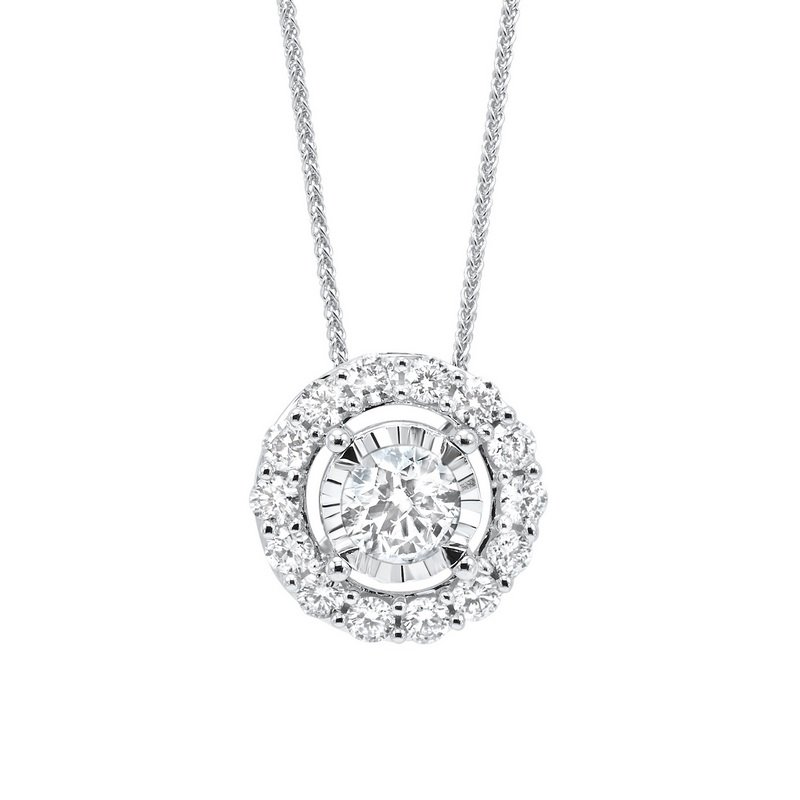 Gems One Diamond Halo Solitaire Starburst Pendant Necklace in 14k White Gold (1/10ctw)