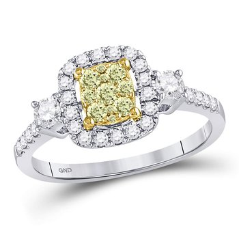 14kt White Gold Womens Round Yellow Diamond Square Frame Cluster Ring 5/8 Cttw
