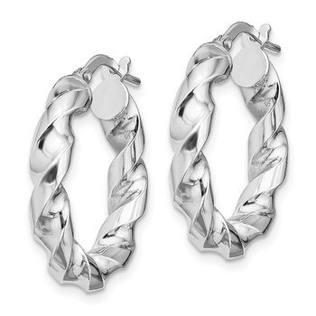 Sterling Silver Rhodium-plated 4x14mmTwisted Hoop Earrings