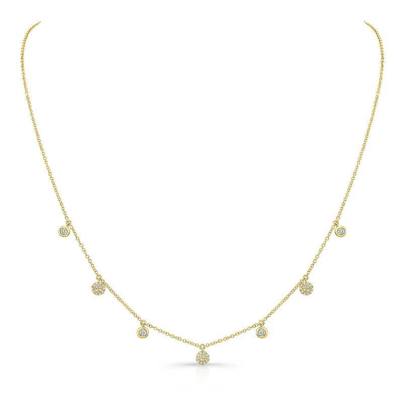 Yellow Gold Dangling Disc Necklace