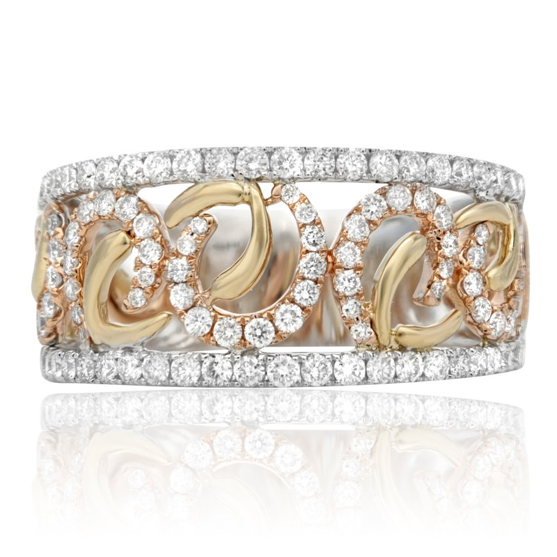 Roman & Jules Tri-Colored Diamond Cuff Ring
