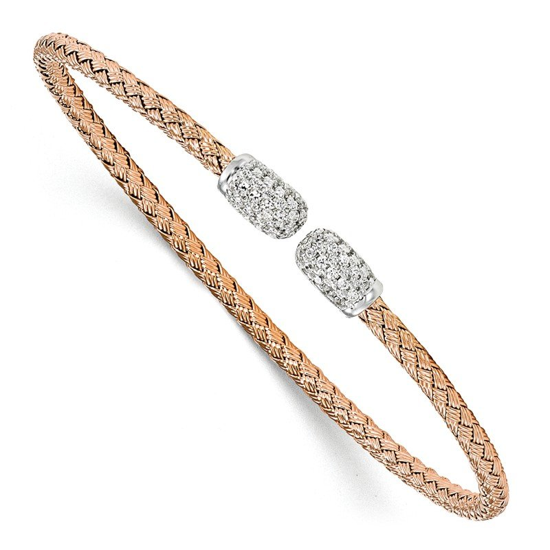 Leslie's Leslie's Sterling Silver Rose-tone CZ Woven Cuff