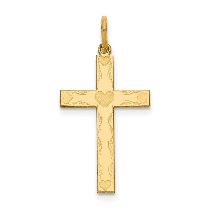 Quality Gold 14K Laser Designed Cross Charm