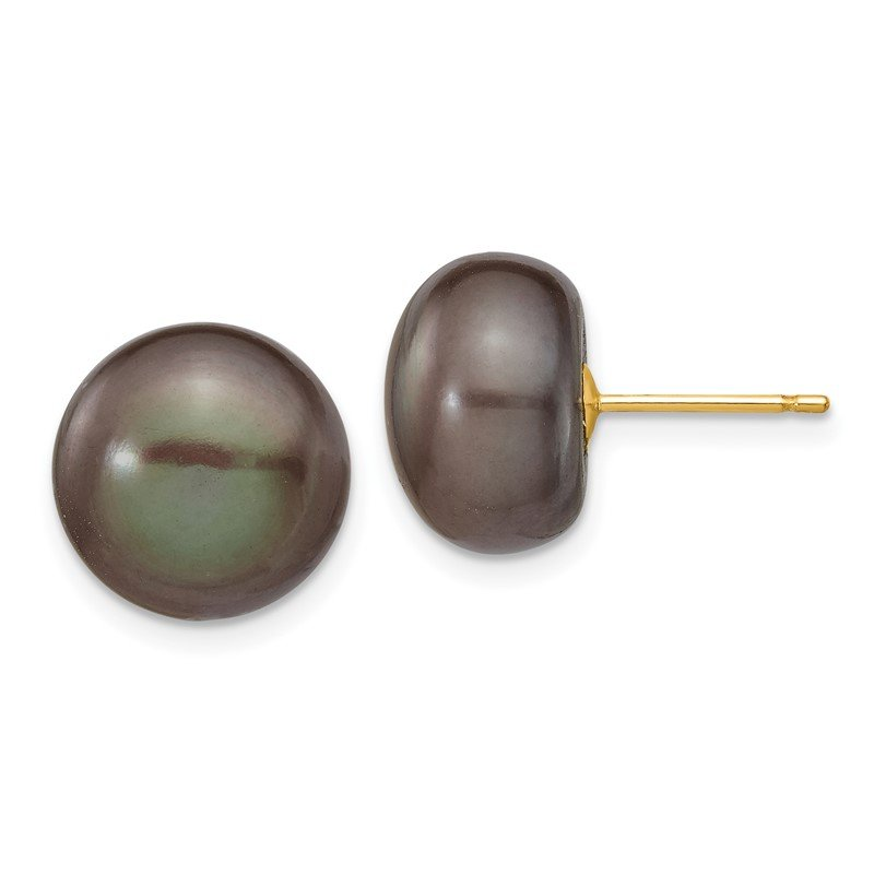 Quality Gold 14k 11-12mm Black Button FW Cultured Pearl Stud Post Earrings