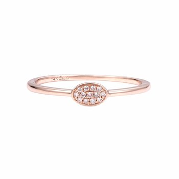 Tinny oval diamond 14K gold ring perfect as a  pinky or to stack with other T.W 0.05ct