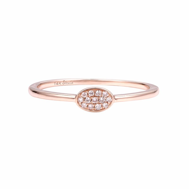 Shula NY Tinny oval diamond 14K gold ring perfect as a  pinky or to stack with other T.W 0.05ct