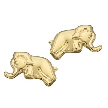 14K Yellow Gold Baby Elephant Screwback Earrings