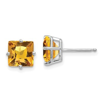14k White Gold 7mm Princess Cut Citrine Earrings