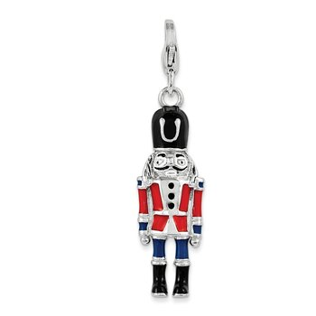 Sterling Silver 3-D Enameled Nut Cracker w/Lobster Clasp Charm