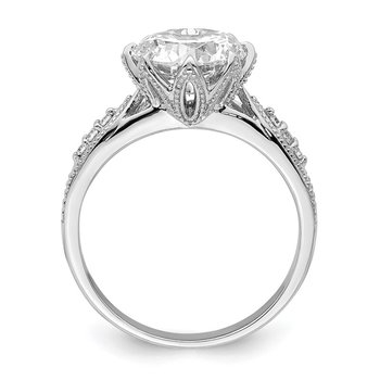 Sterling Silver Rhodium-plated 9mm CZ Ring