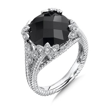 Sterling Silver Diamond & Onyx Ring