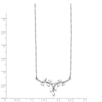 14K White Polished Leaf Necklace