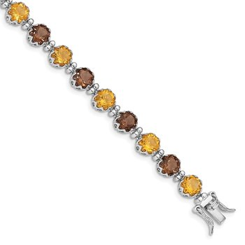 Sterling Silver Rhodium-plated Smoky Quartz and Citrine Bracelet