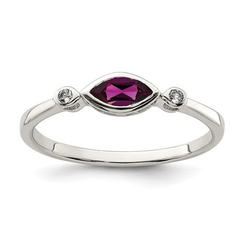 Sterling Silver Polished Rhololite and White Topaz Ring