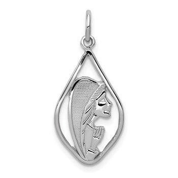 14k White Gold Mary Blessed Virgin Charm
