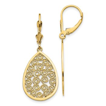 14k Teardrop Filigree Dangle Leverback Earrings