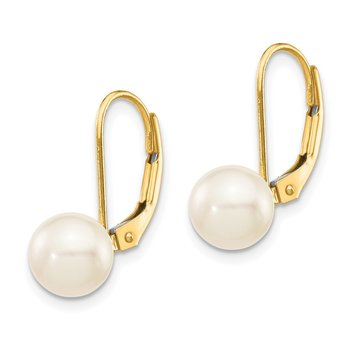 14k 7-8mm White Round Saltwater Akoya Cultured Pearl Leverback Earrings
