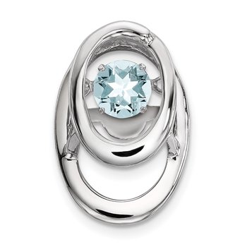 Sterling Silver Rhodium Aquamarine Birthstone Vibrant Chain Slide