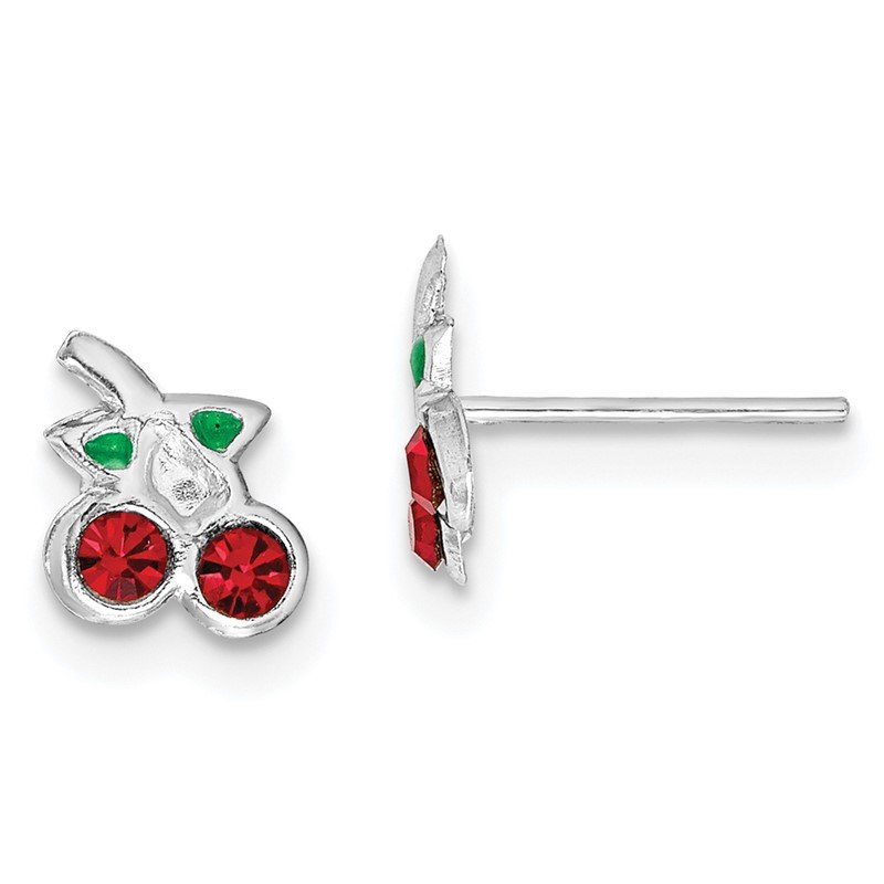 Quality Gold Sterling Silver Rhodium-plated Red & Green Crystal Cherry Post Earrings