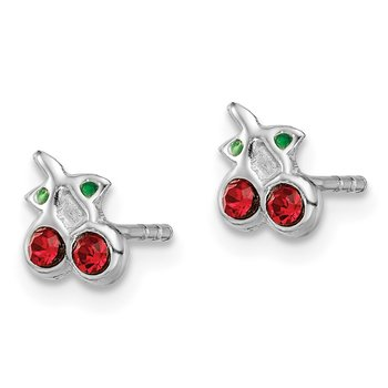 Sterling Silver Rhodium-plated Red & Green Crystal Cherry Post Earrings