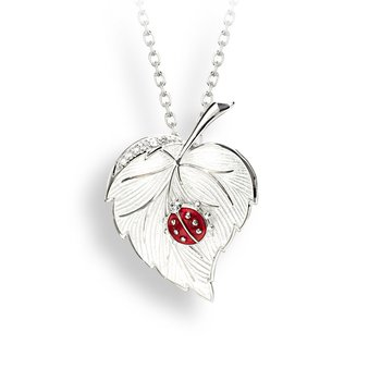 White Ladybug Necklace.Sterling Silver-White Sapphire