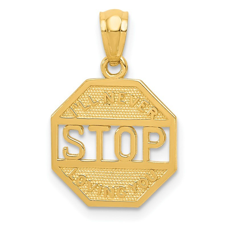Quality Gold 14k Polished I'LL NEVER STOP LOVING YOU Pendant