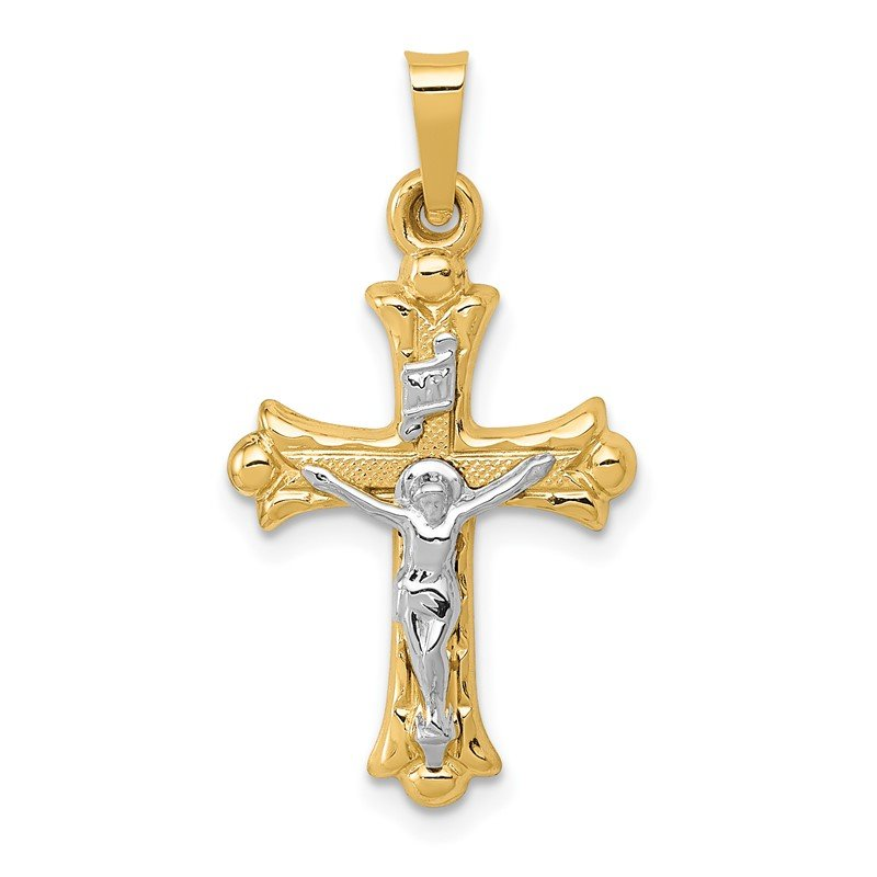 Quality Gold 14k Two-Tone Polished INRI Crucifix Cross Pendant