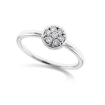 Diamond Circle Ring in 14k White Gold with 7 Diamonds weighing .14ct tw.