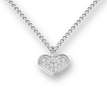 Sterling Silver Heart Necklace-. White Sapphires