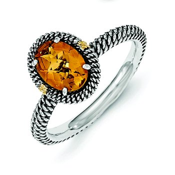 Sterling Silver w/14k Oval Citrine Ring
