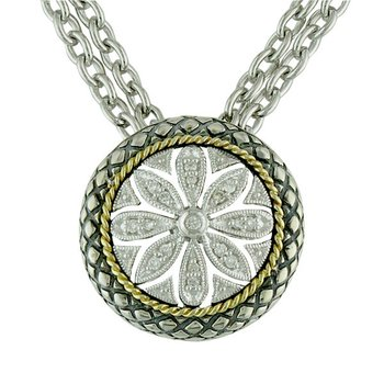 18kt and Sterling Silver Round Filigree Flower Diamond Pendant with Chain