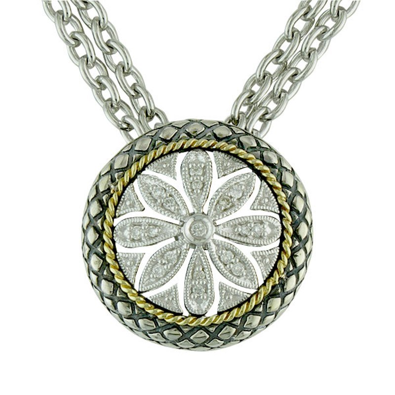Andrea Candela 18kt and Sterling Silver Round Filigree Flower Diamond Pendant with Chain