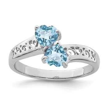 Sterling Silver Rhodium Light Swiss Blue Topaz Heart Ring