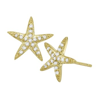 Diamond Starfish Earrings in 14K Yellow Gold with 32 Diamonds Weighing  .16ct tw