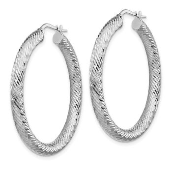 14k 4x30mm White Gold Diamond-cut Round Hoop Earrings