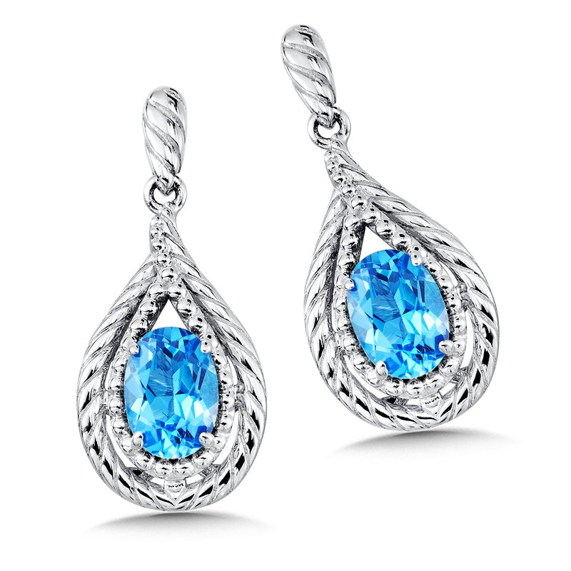Colore Sg Sterling Silver Blue Topaz Post Earrings