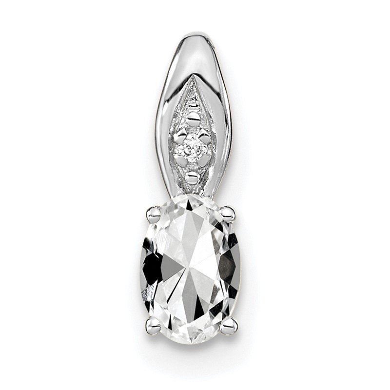 Quality Gold 14k White Gold White Topaz and Diamond Pendant