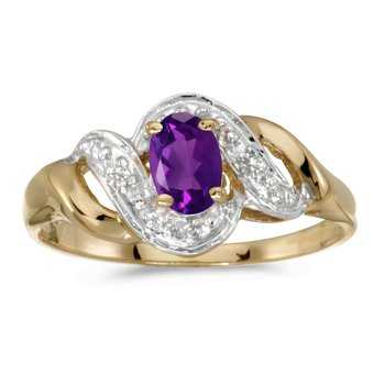 14k Yellow Gold Oval Amethyst And Diamond Swirl Ring