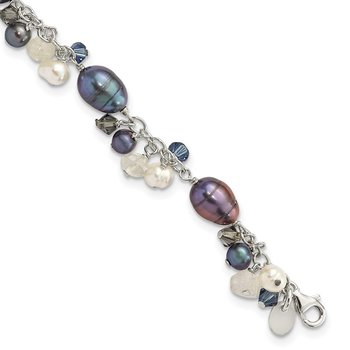 Sterling Silver Crystal /FW Cultured Pearl Bracelet