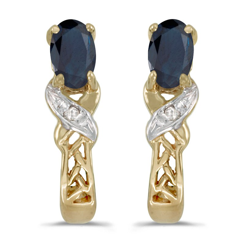 Color Merchants 14k Yellow Gold Oval Sapphire And Diamond Earrings