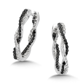 Pave set Diamond Oval Reflection Hoops in 14k White Gold (1 1/4 ct. tw.) JK/I1
