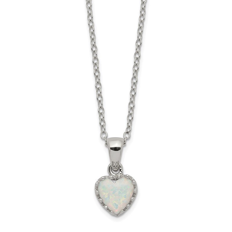 Arizona Diamond Center Collection Sterling Silver Rhodium-plated Polish Heart Created Opal Necklace