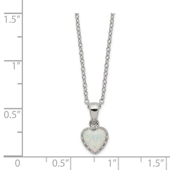 Sterling Silver Rhodium-plated Polish Heart Created Opal Necklace