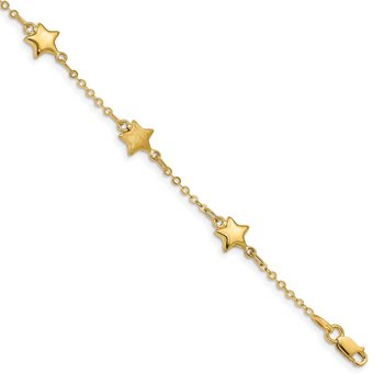 14K Brushed & Polished Stars Bracelet