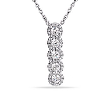 14K Diamond Drop Pendant .57 Diamonds  0.71CT